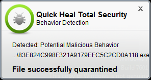 Fig 2. Quick Heal's behavior-based detection system detecting the malicious behavior